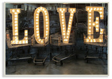 L O V E Lights in Carts Photography Wall Plaque Art Wood Sign
