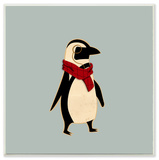 Hipster Penguin with Scarf Wall Plaque Art Wood Sign