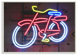 Bicycle Neon Lights Photography Wall Plaque Art Wood Sign
