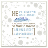 He Will Cover You Blue Wall Plaque Art by EtchLife Wood Sign