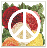 Peace Sign with Flowers Wall Plaque Art Wood Sign