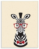 Hipster Zebra with Textured Background Wall Plaque Art Wood Sign