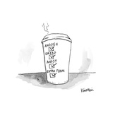 "Coffee cup with check marks in boxes reading ""anguish, dread, angst, and e... - New Yorker Cartoon Premium Giclee Print by Ken Krimstein"