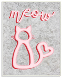 Neon Kitty Meow Typography Wall Plaque Art Wood Sign