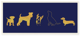 Dog Silhouette Gold and Navy Wall Plaque Art Wood Sign