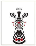 Typographic Hipster Zebra Wall Plaque Art Wood Sign