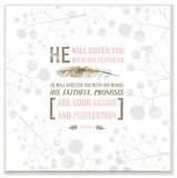 He Will Cover You Pink Wall Plaque Art by EtchLife Wood Sign