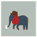 Hipster Elephant with Fedora Wall Plaque Art Wood Sign