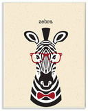 Typographic Hipster Zebra with Textured Background Wall Plaque Art Wood Sign