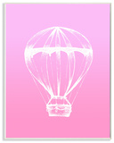 Graphic Hot Air Balloon White and Pink Wall Plaque Art Wood Sign