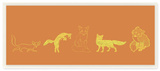 Fox Silhouette Gold and Orange Wall Plaque Art Wood Sign