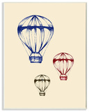 Graphic Hot Air Balloon Blue Red Green Wall Plaque Art Wood Sign