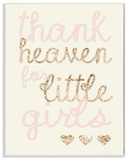 Thank Heaven For Little Girls Sequin Wall Plaque Art Wood Sign