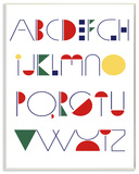 Graphic Alphabet Primary Colors Wall Plaque Art Wood Sign