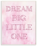 Dream Big Little One Pink Loopy Text Wall Plaque Art Wood Sign