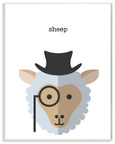 Typographic Hipster Sheep Wall Plaque Art Wood Sign