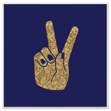 Peace Hand Gold Wall Plaque Art Wood Sign