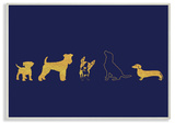 Gold Dog Silhouette Navy Wall Plaque Art Wood Sign