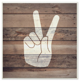 Peace Hand Distressed Wood Wall Plaque Art Wood Sign