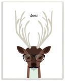 Typographic Hipster Deer Wall Plaque Art Wood Sign