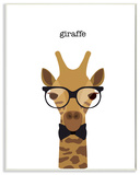 Typographic Hipster Giraffe Wall Plaque Art Wood Sign