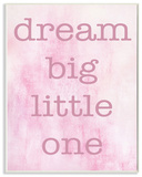 Dream Big Little One Pink Wall Plaque Art Wood Sign