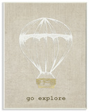 Go Explore Hot Air Balloon Wall Plaque Art Wood Sign