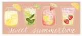 Sweet Summertime Designer Cocktails Wall Plaque Art Wood Sign