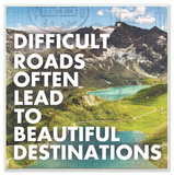 Difficult Roads Beautiful Destinations Typography Wall Plaque Art Wood Sign