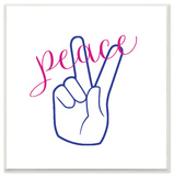Peace Hand with Cursive Typography Wall Plaque Art Wood Sign