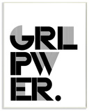 Girl Power Black and White Typography Wall Plaque Art Wood Sign