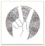 Peace Hand Silhouette Silver Wall Plaque Art Wood Sign