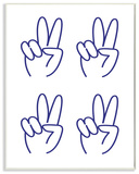 Peace Sign 4x4 Grid Wall Plaque Art Wood Sign