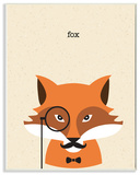 Typographic Hipster Fox with Textured Background Wall Plaque Art Wood Sign