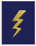 Graphic Lightning Bolt Gold and Navy Wall Plaque Art Wood Sign