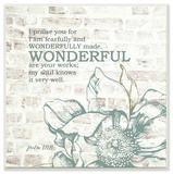 Fearfully and Wonderfully Made Typography Floral Wall Plaque Art by EtchLife Wood Sign
