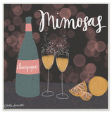 Champagne Mimosas Illustration Wall Plaque Art Wood Sign