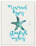 Mermaid Kisses Starfish Wishes Wall Plaque Art Wood Sign