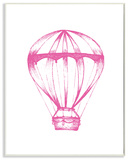 Graphic Hot Air Balloon Pink and White Wall Plaque Art Wood Sign