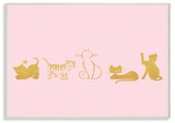 Gold Cat Silhouette Pink Wall Plaque Art Wood Sign