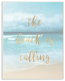 The Beach Is Calling Gold Typography Wall Plaque Art Wood Sign