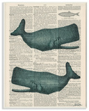 Classic Novel Whales Wall Plaque Art Wood Sign