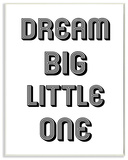 Dream Big Little One Black and White Graphic Wall Plaque Art Wood Sign