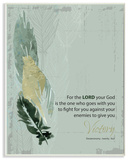 For The Lord Your God Feathers Typography Wall Plaque Art by EtchLife Wood Sign