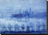 Blue Night, London Stretched Canvas Print by Joseph Pennell