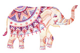 Watercolor Elephant in Bohemian Style. Ornate Elephant in Pink and Purple Colors Isolated on White Premium Giclee Print by  tanycya