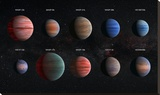 Artist Impression of Hot Jupiter Exoplanets - Annotated Stretched Canvas Print