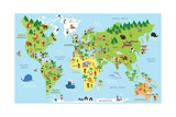 Funny Cartoon World Map with Children of Different Nationalities Animals and Monuments of All the C Prints by  asantosg