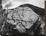 Boulder with hill in background, Rocks at Silver Gate, Yellowstone National Park, Wyoming, ca. 1941 Stretched Canvas Print by Ansel Adams