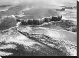Aerial view of Jupiter Terrace, Yellowstone National Park, Wyoming ca. 1941-1942 Stretched Canvas Print by Ansel Adams